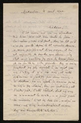 Lettre de M. Cézerac (gendre d'Antonin Perbosc) à Louisa Paulin, le 4 avril 1944