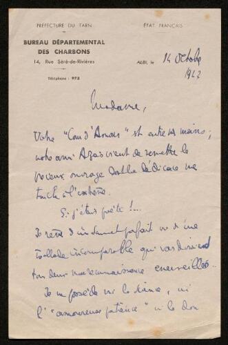 Lettre d'Emmanuel Jacob à Louisa Paulin, le 14 octobre 1942