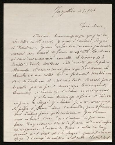 Lettre de Charles Camproux à Louisa Paulin, le 5 janvier 1944