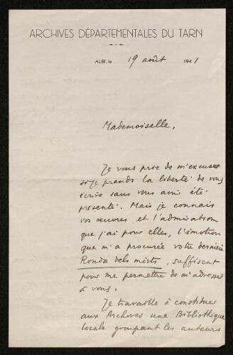 Lettre de Pierre Breillat à Louisa Paulin, le 19 août 1941