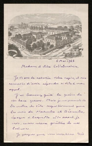 Lettre de Pierre Legrand (pour La Vie artistique et littéraire en province), le 6 mai 1928